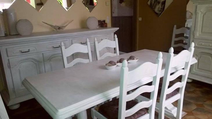 Relooking d 39 une salle manger en bois avec de la peinture - Relooking salle a manger ...