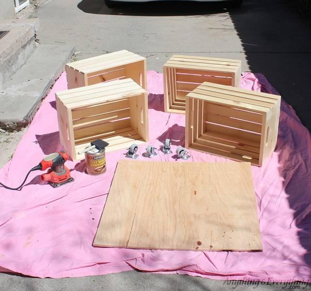Table basse roulettes avec des caisses de fruits guide - Table basse avec des caisses en bois ...