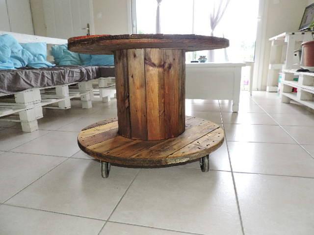 Bobine en bois pour table basse - Fabriquer sa table basse relevable ...