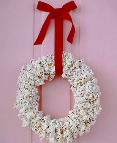 Couronne de Noël en pop-corn
