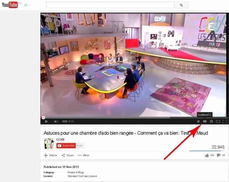 Activer les sous titres sur une vid o youtube for Allez cuisine translation