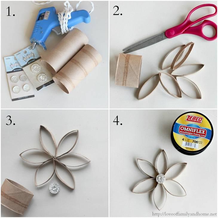 Fleur étoile en rouleaux de papier toilette