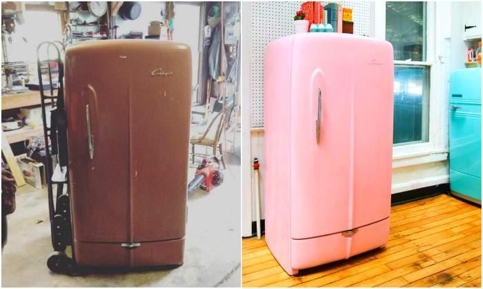 Frigo Vintage Couleur Pastel : Transformer un vieux réfrigérateur en frigo vintage