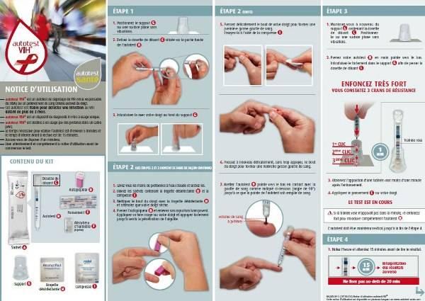 Mode d'utilisation de l'auto-test de dépistage du VIH