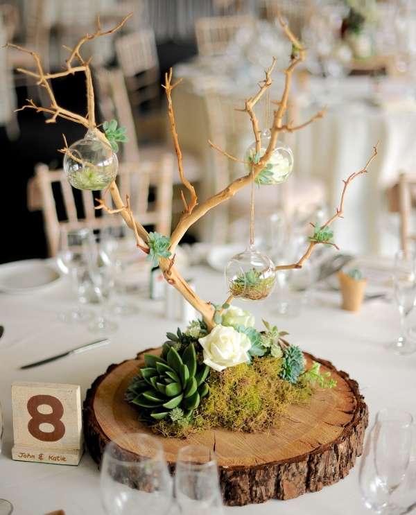 17 superbes cr ations d co avec des rondins de bois - Deco de table avec rondin de bois ...