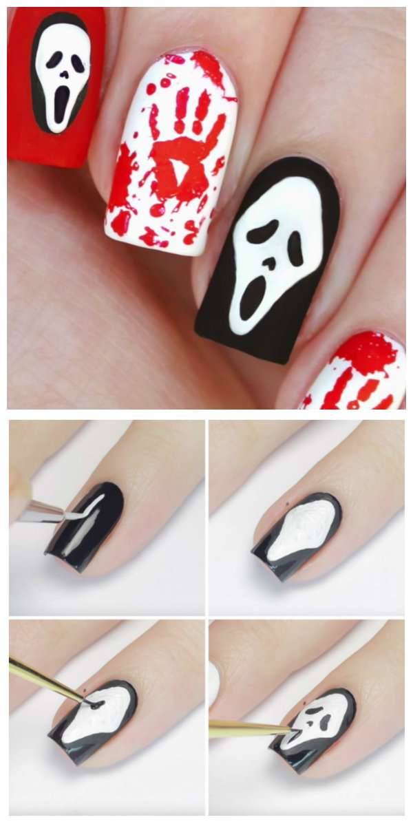 Un nail art inspiré du film Scream