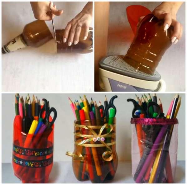 Des bouteilles transformées en porte-crayons