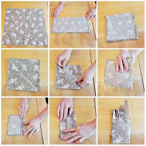 D coration 5 pliages de serviettes faciles pour une jolie - Pliage de serviette porte couvert ...