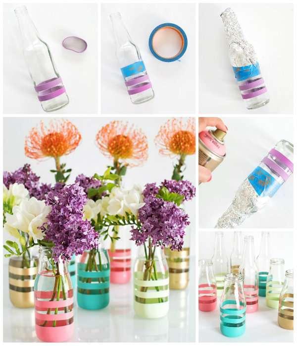 Des bouteilles vases colorés