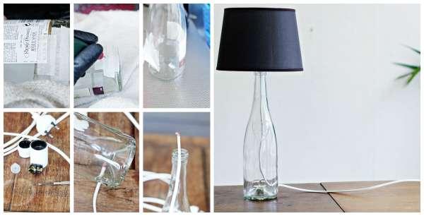 Une lampe bouteille de verre