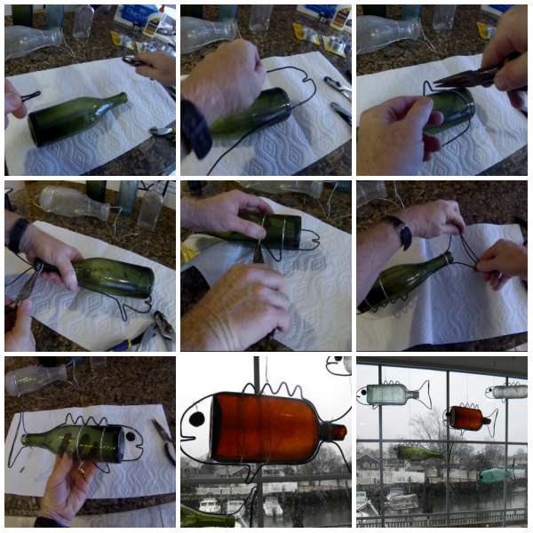 Des bouteilles transformées en poissons décoratifs